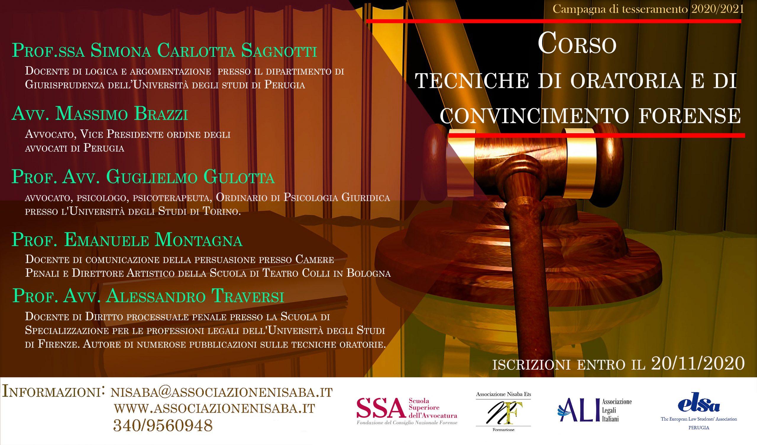 Corso Online Tecniche di Oratoria e di Convincimento Forense
